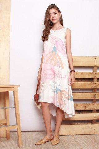 Printed Asymmetrical Flowy Midi Dress in Dusty Pink