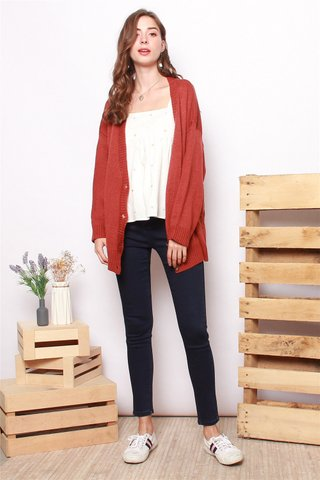 Oversized Knit Cardigan in Rust