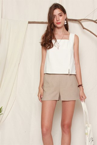 Double Button High Waist Shorts in Khaki