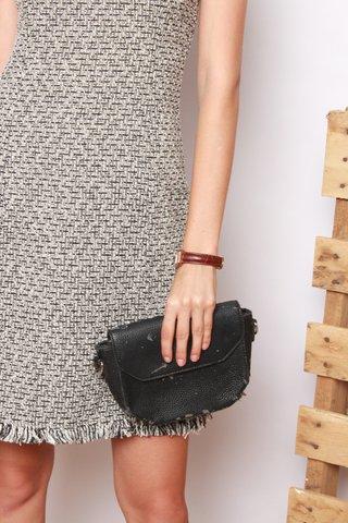 Textured Tweed Square Neck Work Dress