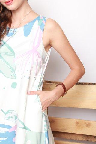 Printed Asymmetrical Flowy Midi Dress in Mint