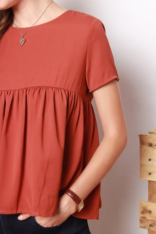 ACW Babydoll Sleeved Top in Rust