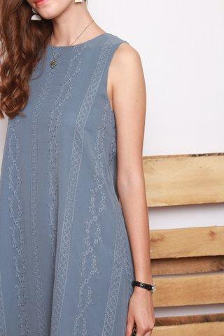 ACW Eyelet Panels Trapeze Dress in Blue