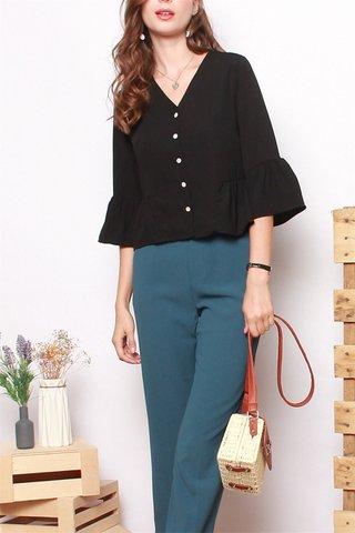 ACW Button Down Flutter Sleeve Shirt in Black