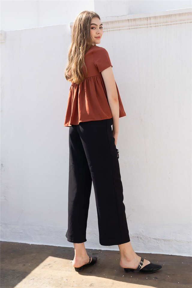 Straight Cut Pocket Culottes in Black