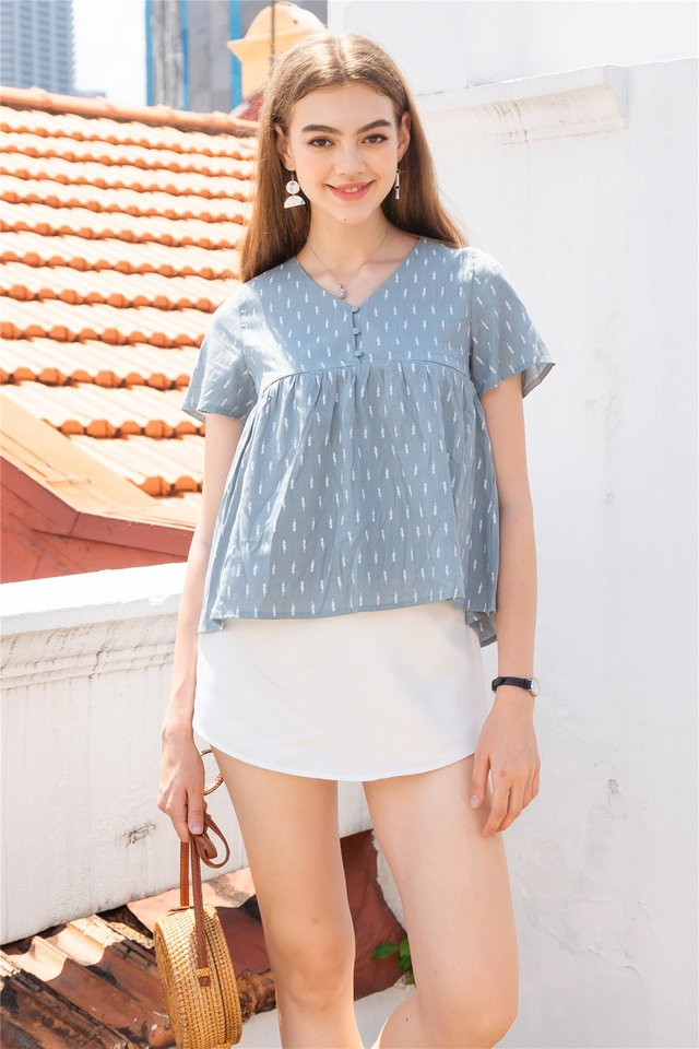ACW Wheat Print Button Down Babydoll Top in Blue