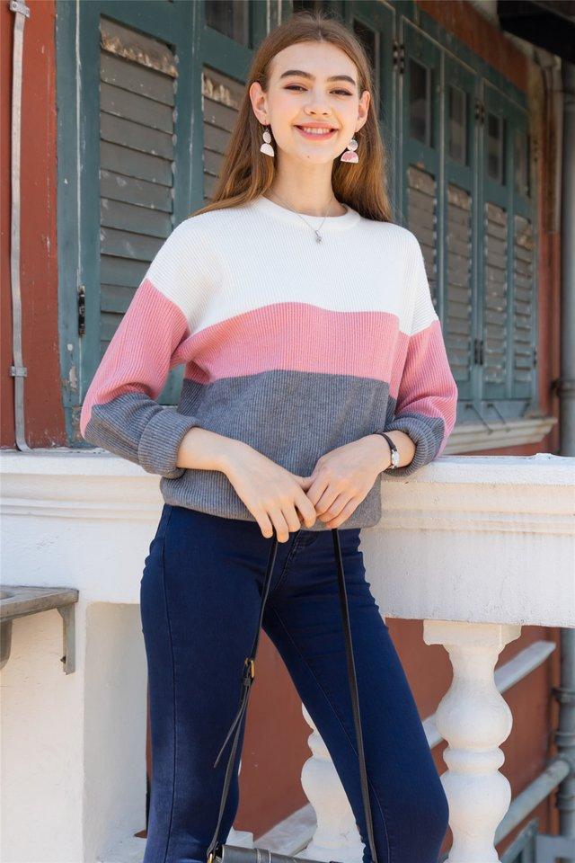 Tri Colourblock Soft Knit Sweater in Pink-Grey