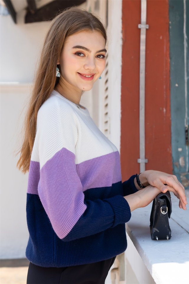Tri Colourblock Soft Knit Sweater in White-Lilac