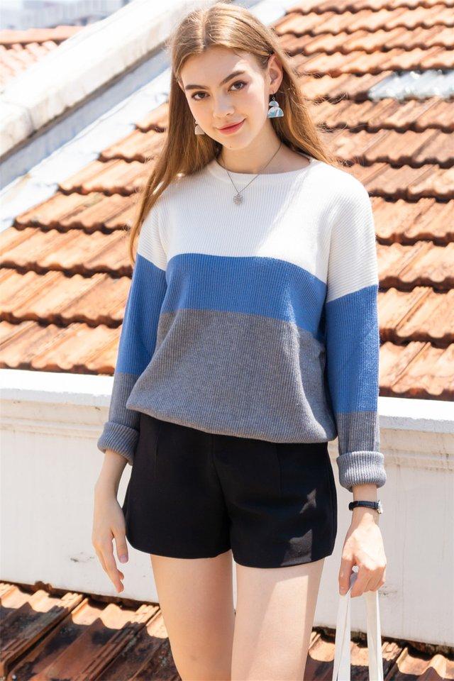 Tri Colourblock Soft Knit Sweater in Blue-Grey