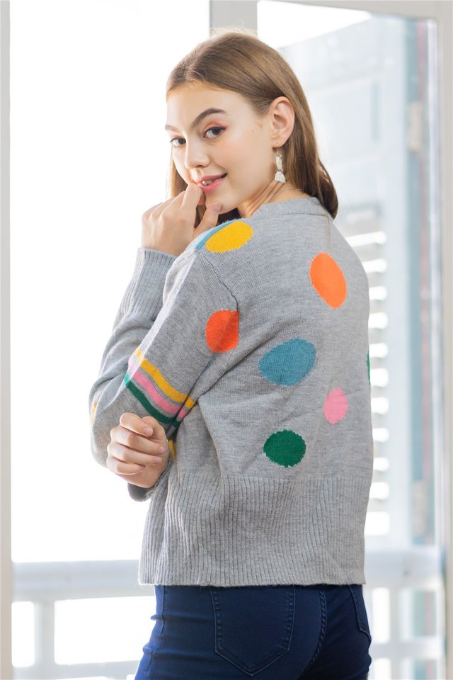 Coloured Polka Knit Cardigan in Grey