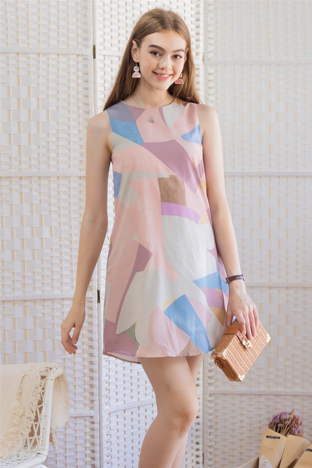 Abstract Shapes Trapeze Dress in Dusty Pink
