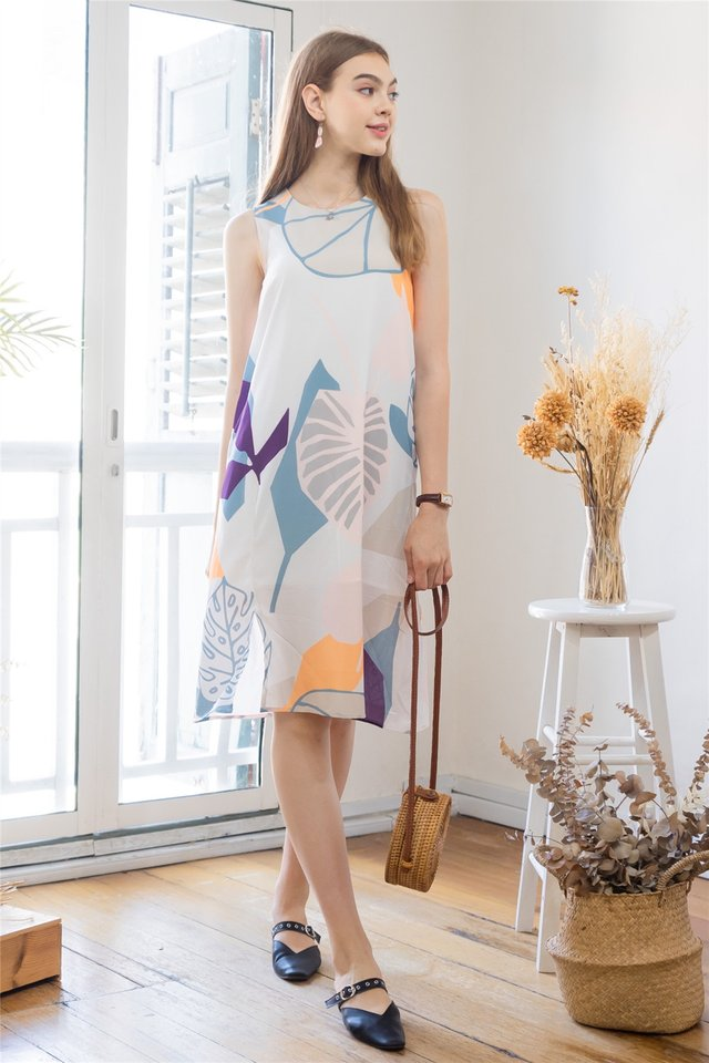 ACW Abstract Watercolour Slit Midi Dress in White