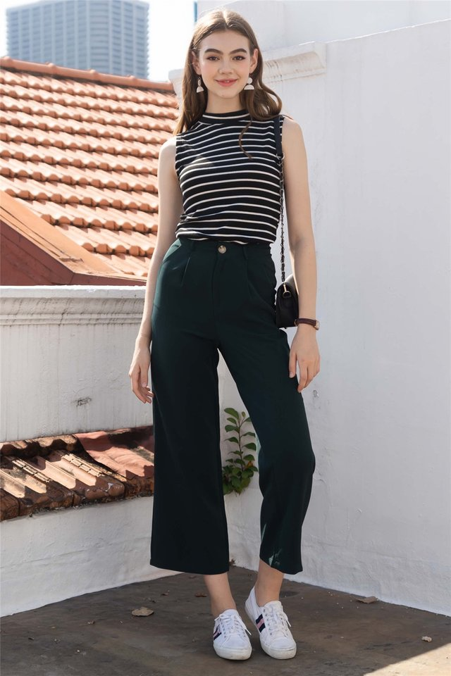 Straight Cut Pocket Culottes in Emerald