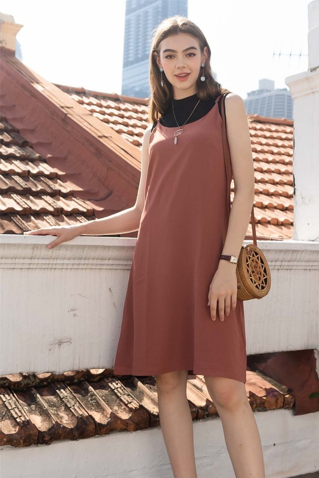 ACW Basic Midi Slip Dress in Rust