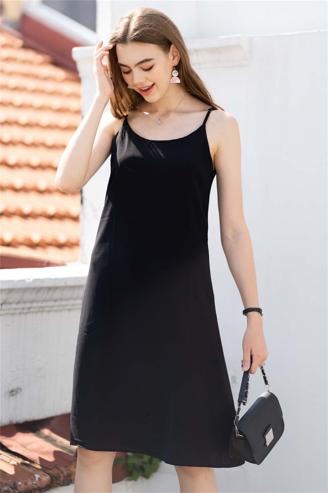 ACW Basic Midi Slip Dress in Black