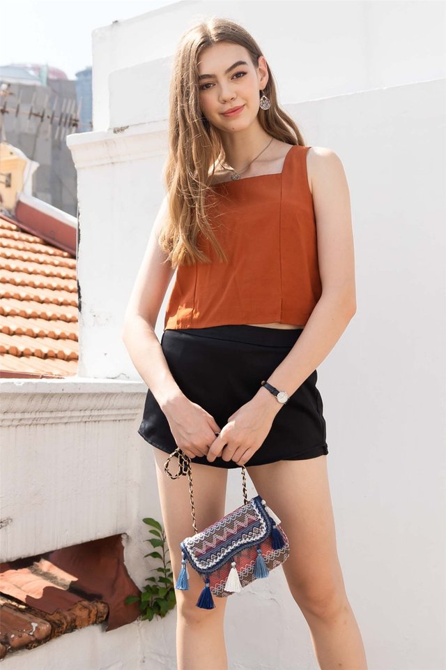 ACW Basic Square Neck Top in Rust