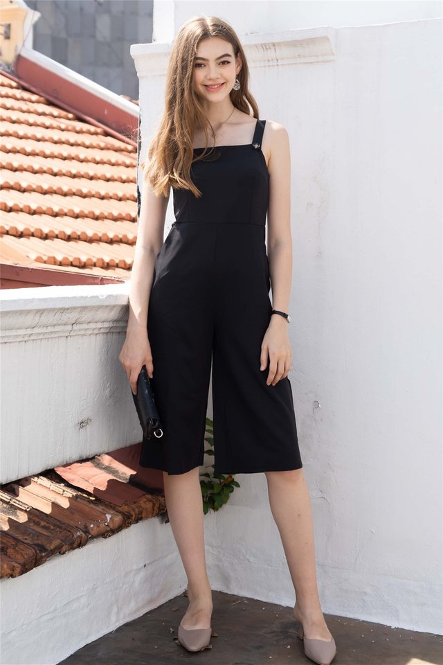 Button Strap Jumpsuit in Black