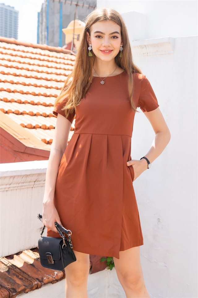 Sleeve Pleats Overlap Work Dress in Rust