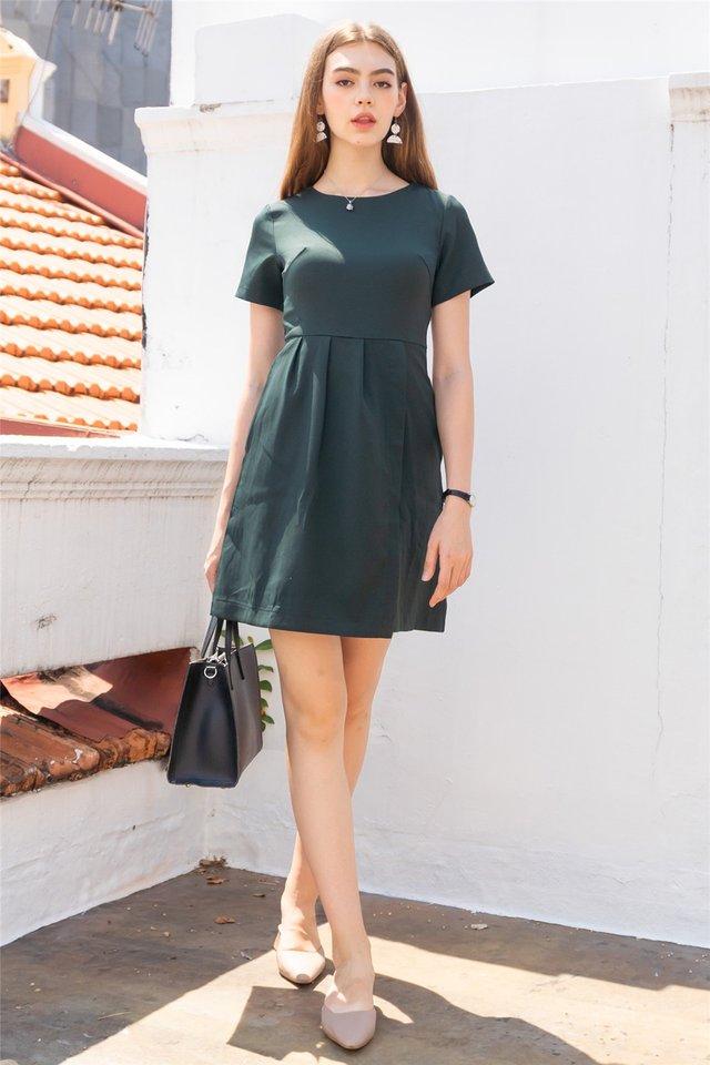 Sleeve Pleats Overlap Work Dress in Emerald