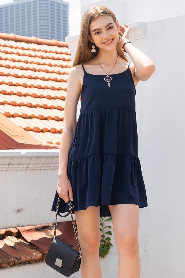 ACW Cami Tiered Babydoll Dress in Navy