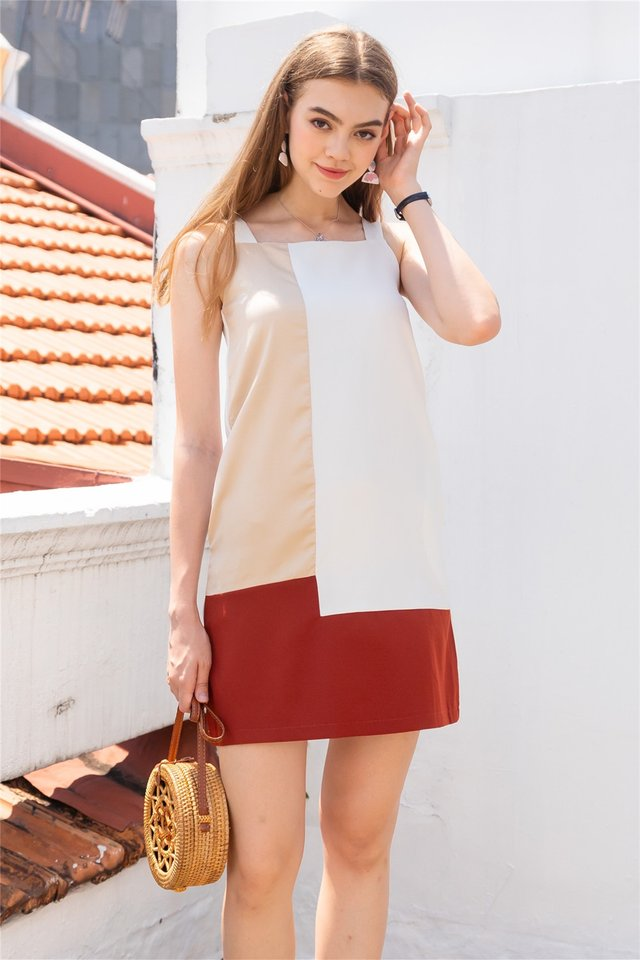 Colourblock Panels Shift Dress in Khaki