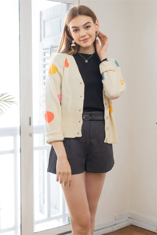 Coloured Polka Knit Cardigan in Cream
