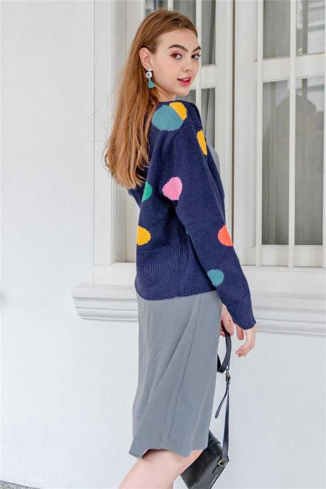 Coloured Polka Knit Cardigan in Navy