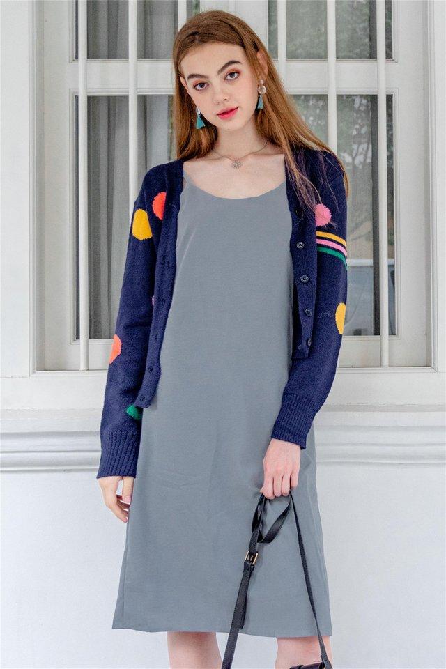 Coloured Polka Knit Cardigan in Navy
