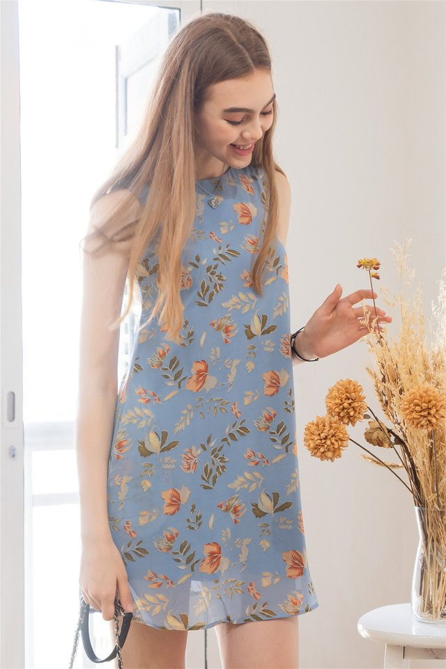 ACW Fall Floral Trapeze Dress in Blue