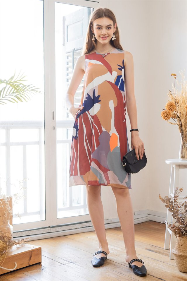 ACW Abstract Watercolour Slit Midi Dress in Maroon