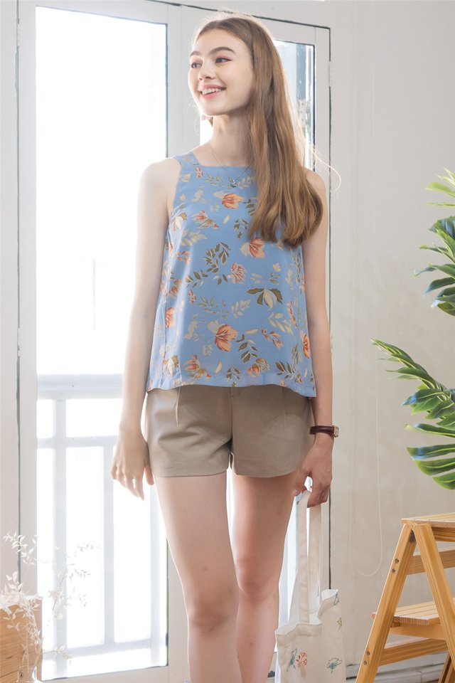 ACW Cut in Top in Fall Floral Prints (Blue)