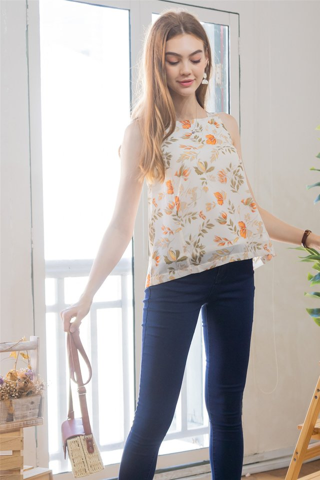 ACW Cut in Top in Fall Floral Prints (Ivory)