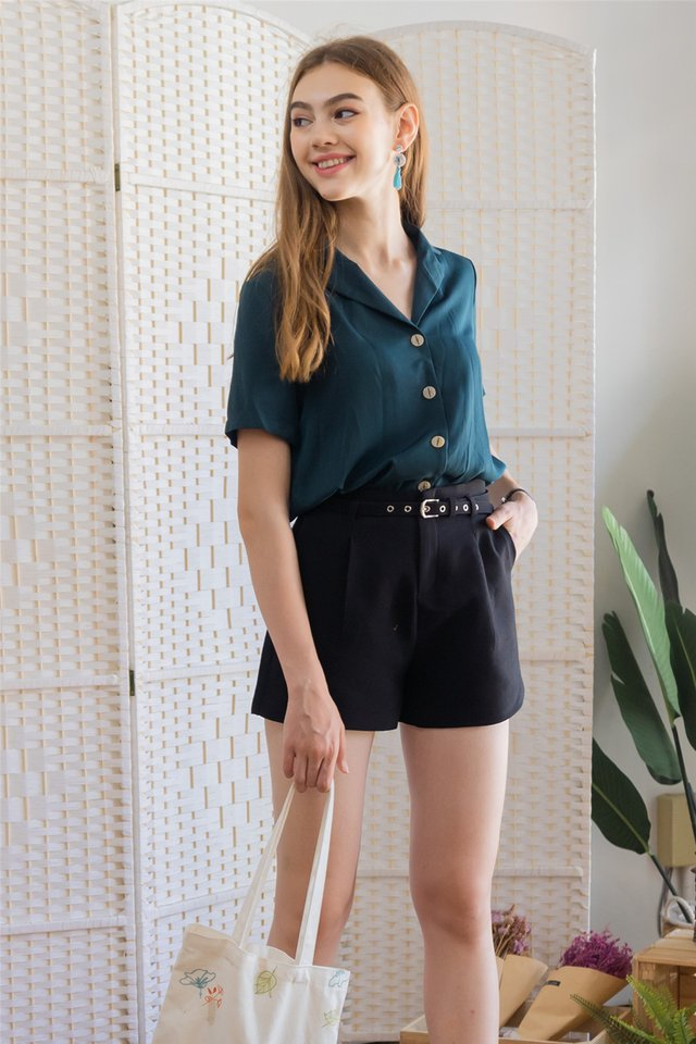 Belted Structured High Waisted Shorts in Black