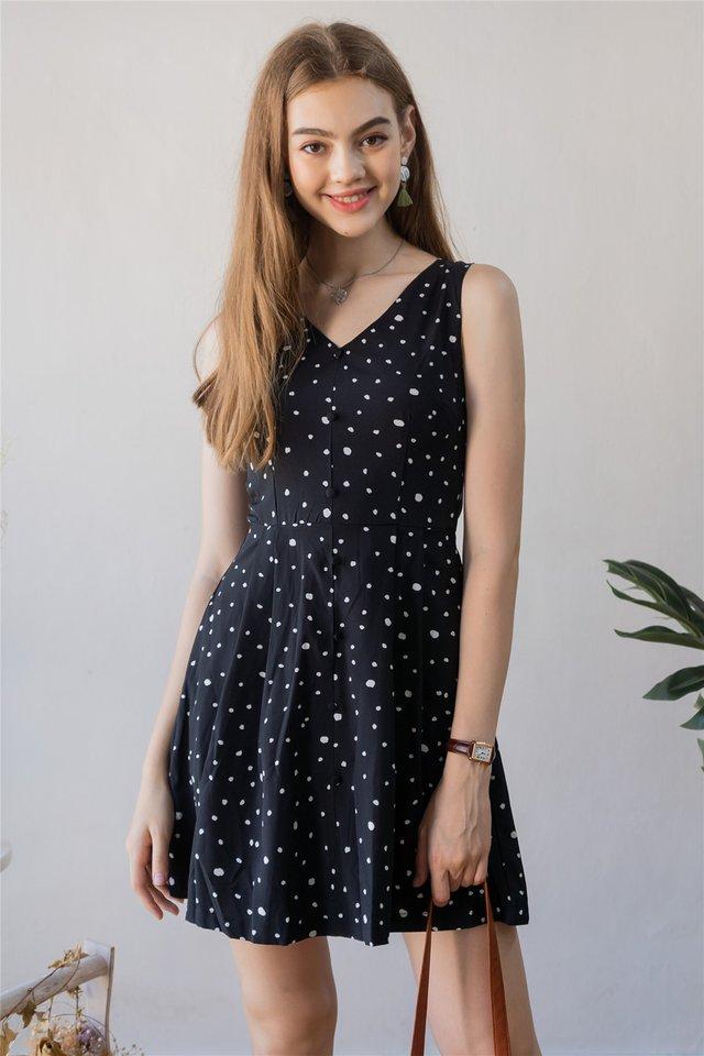 ACW Button Babydoll Polka Dot Dress in Black