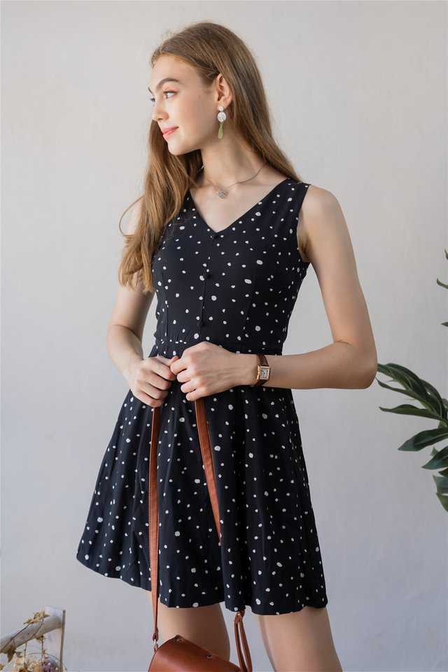 ACW Button Babydoll Polka Dot Dress in Black