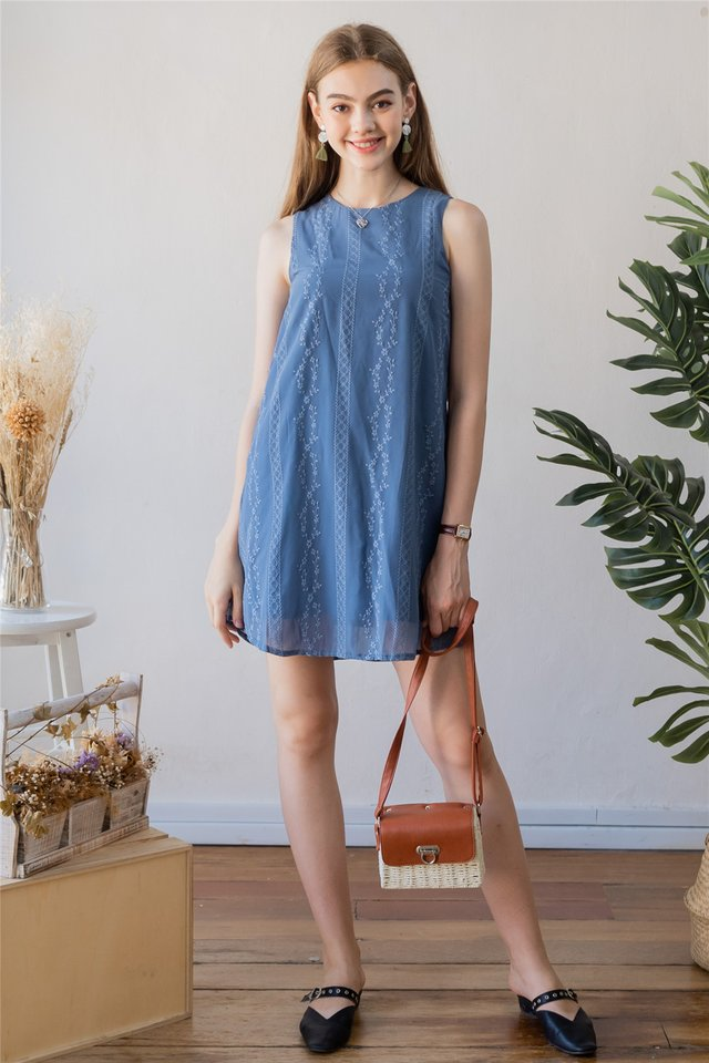 ACW Eyelet Panels Trapeze Dress in Blue