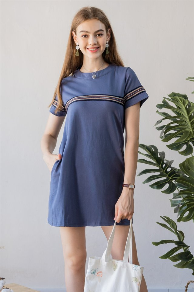 ACW Coloured Knit Panel Tee Dress in Stone Blue