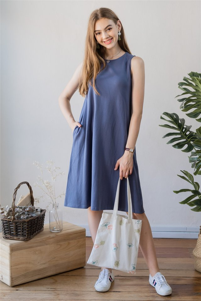 ACW Knit Basic Midi Dress in Stone Blue