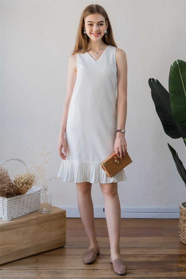 ACW Pleated Hemline Midi Dress in White