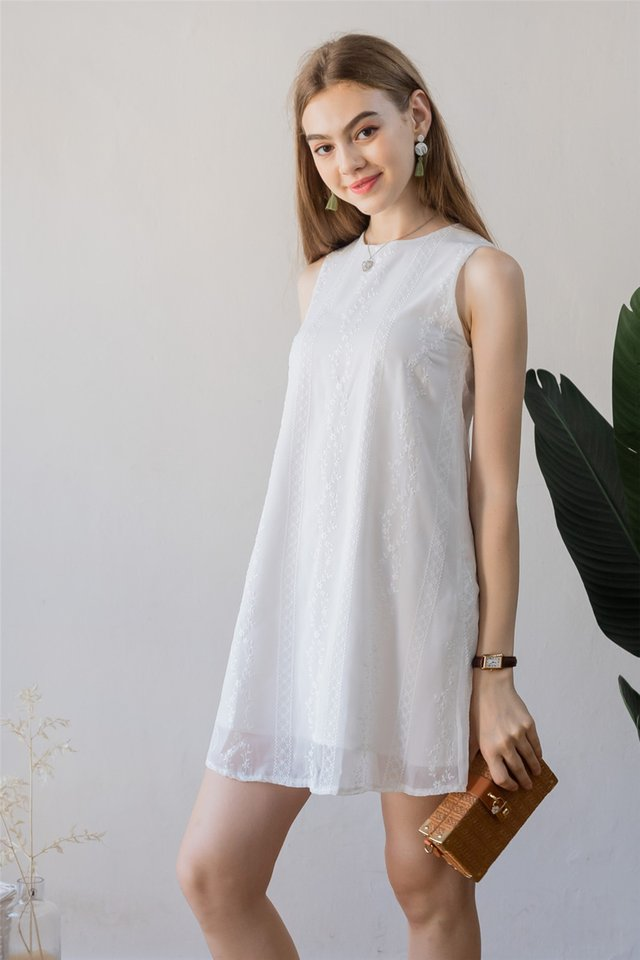 ACW Eyelet Panels Trapeze Dress in White