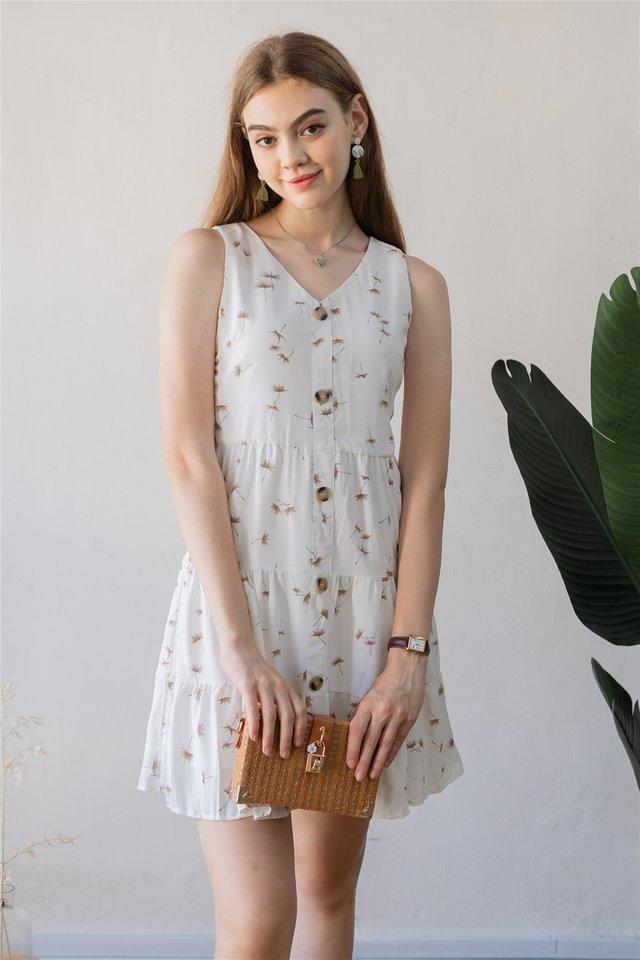 Dandelion Button Tiered Babydoll Dress in White