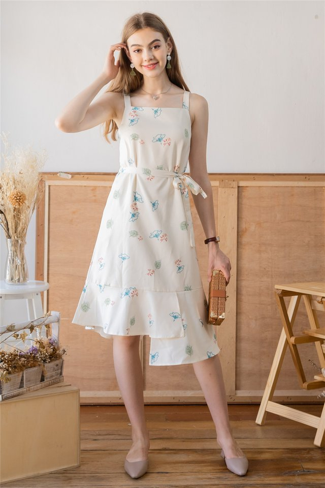 ACW Autumn Floral Tiered Midi Dress in Ivory