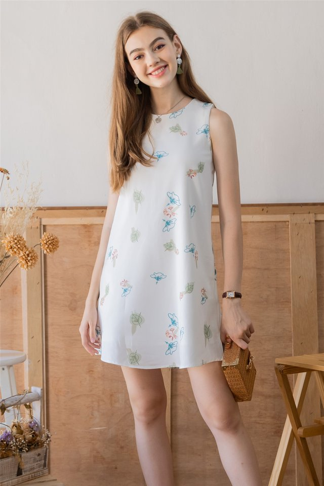 ACW Autumn Floral Trapeze Dress in White