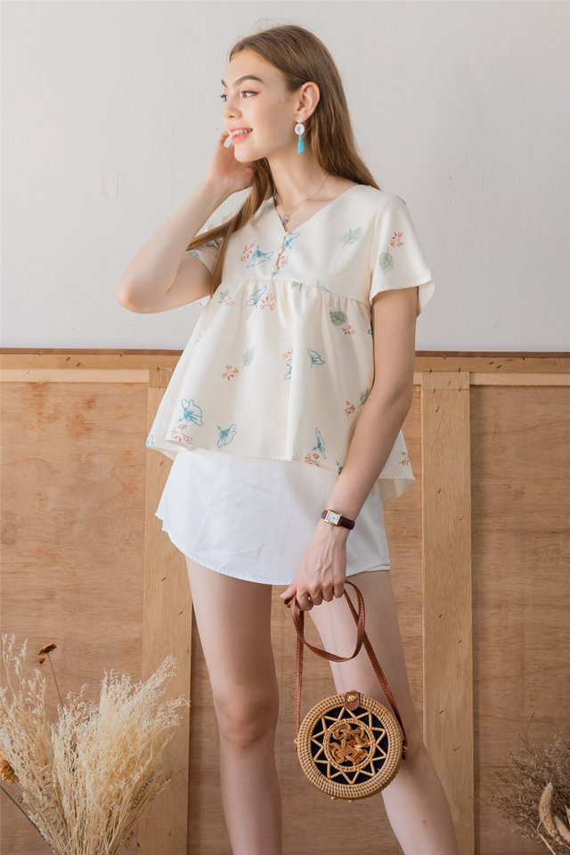ACW Autumn Floral Button Down Babydoll Top in Ivory