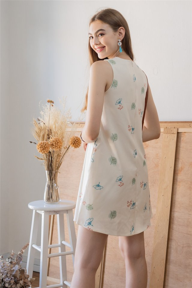 ACW Autumn Floral Trapeze Dress in Ivory