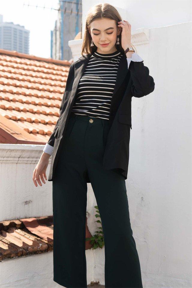 Oversized Tweed Blend Blazer in Black