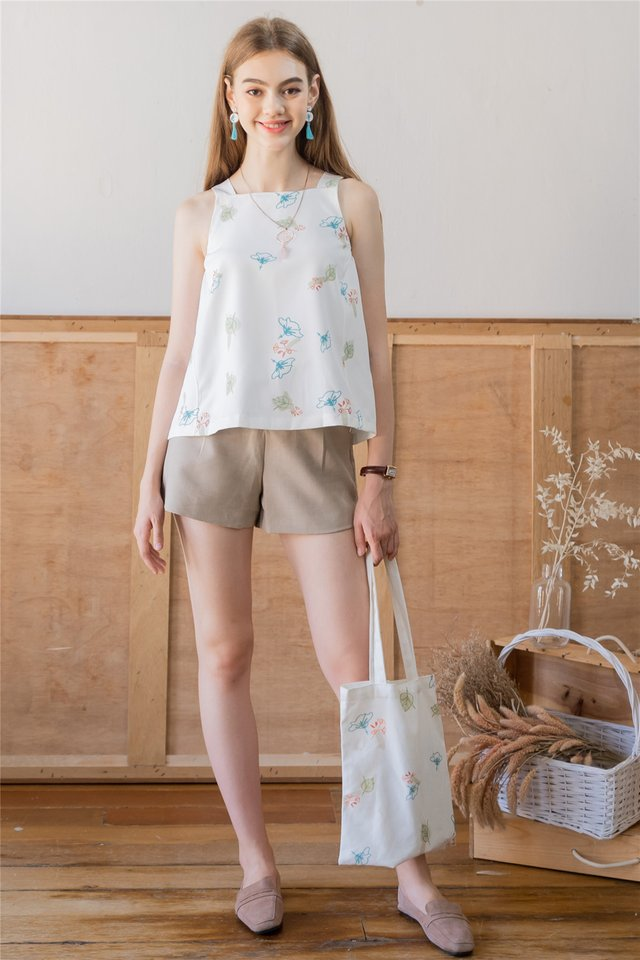 ACW Autumn Floral Cut In Top in White