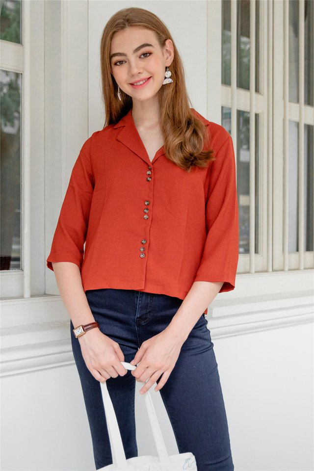 Button Down Slouchy Oversized Shirt in Rust