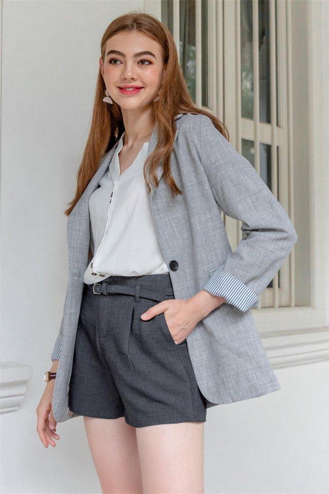 Oversized Tweed Blend Blazer in Grey