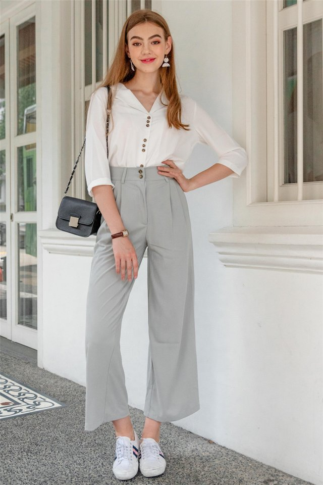 Double Button Flare Trousers in Mint